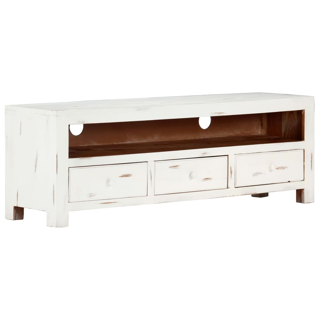 TV Cabinet White 120x30x40 cm Solid Acacia Wood 10