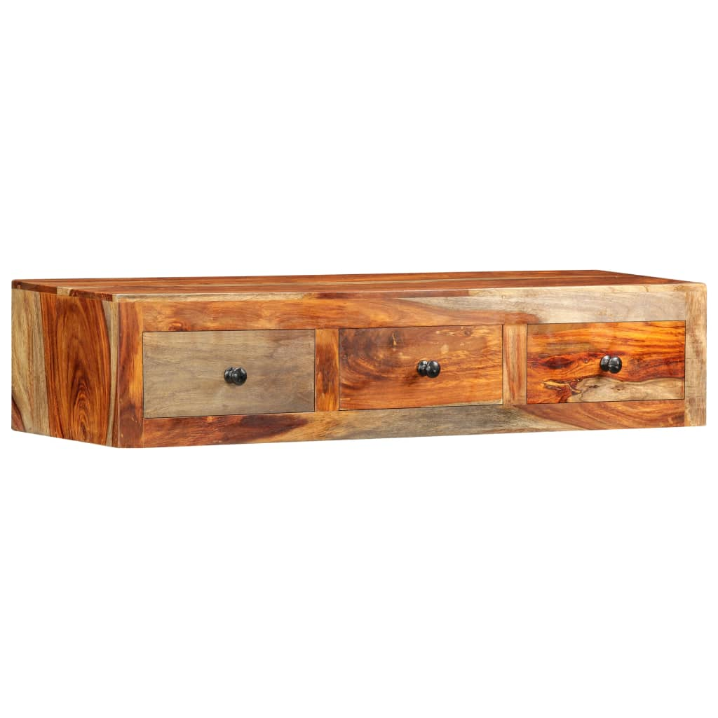 Wall Console Table 100x25x20 cm Solid Sheesham Wood 1