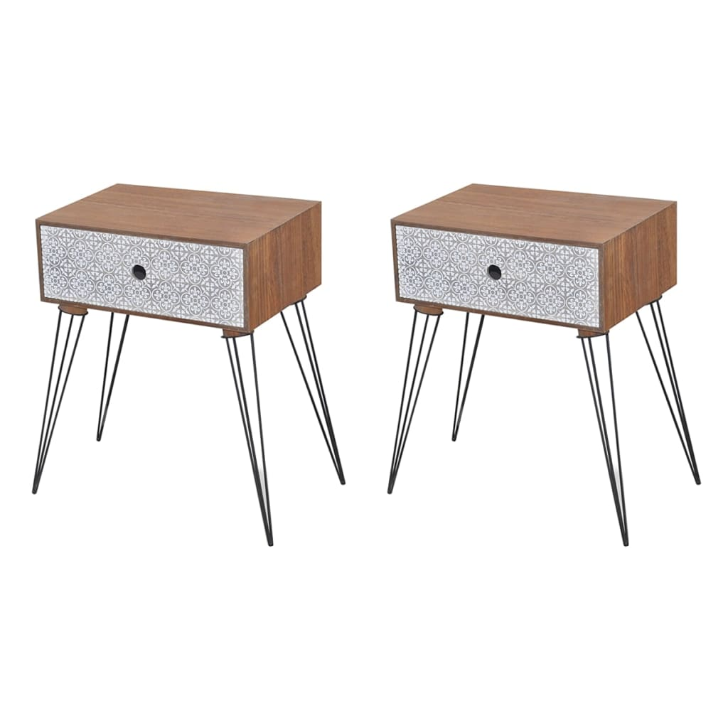 Nightstands with Drawer 2 pcs Brown 1