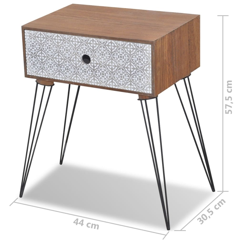 Nightstands with Drawer 2 pcs Brown 7