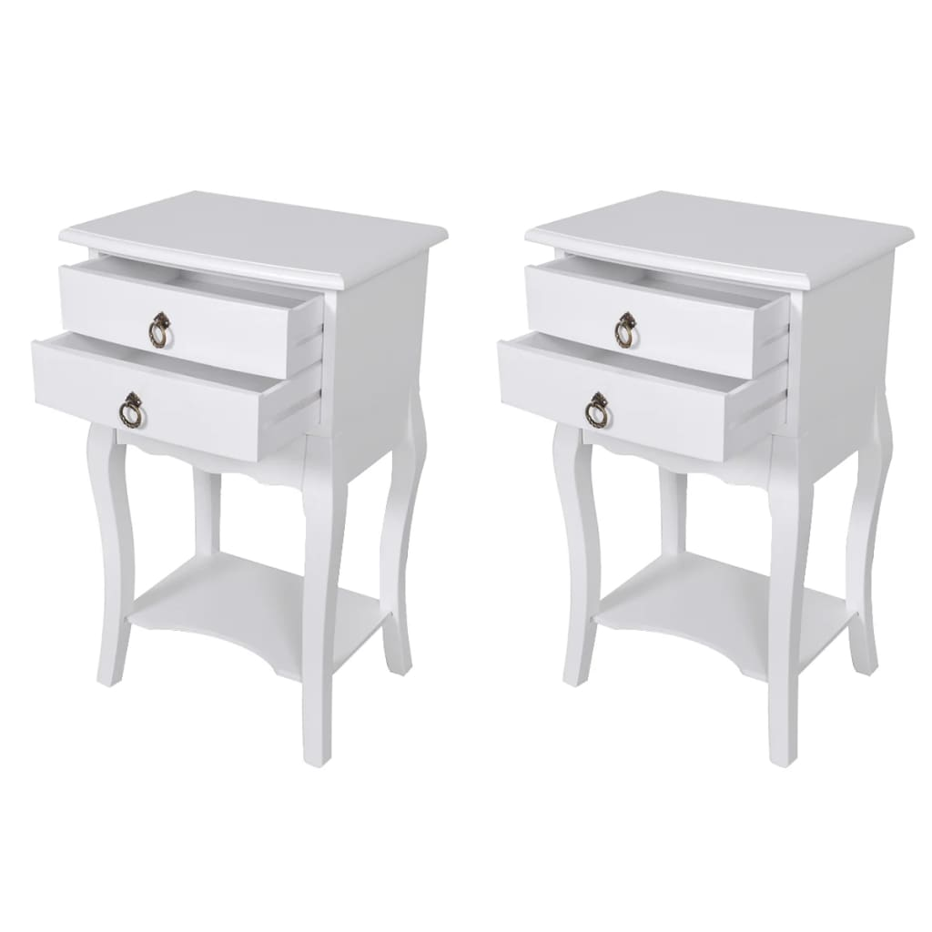 Nightstands with Drawers 2 pcs White 1