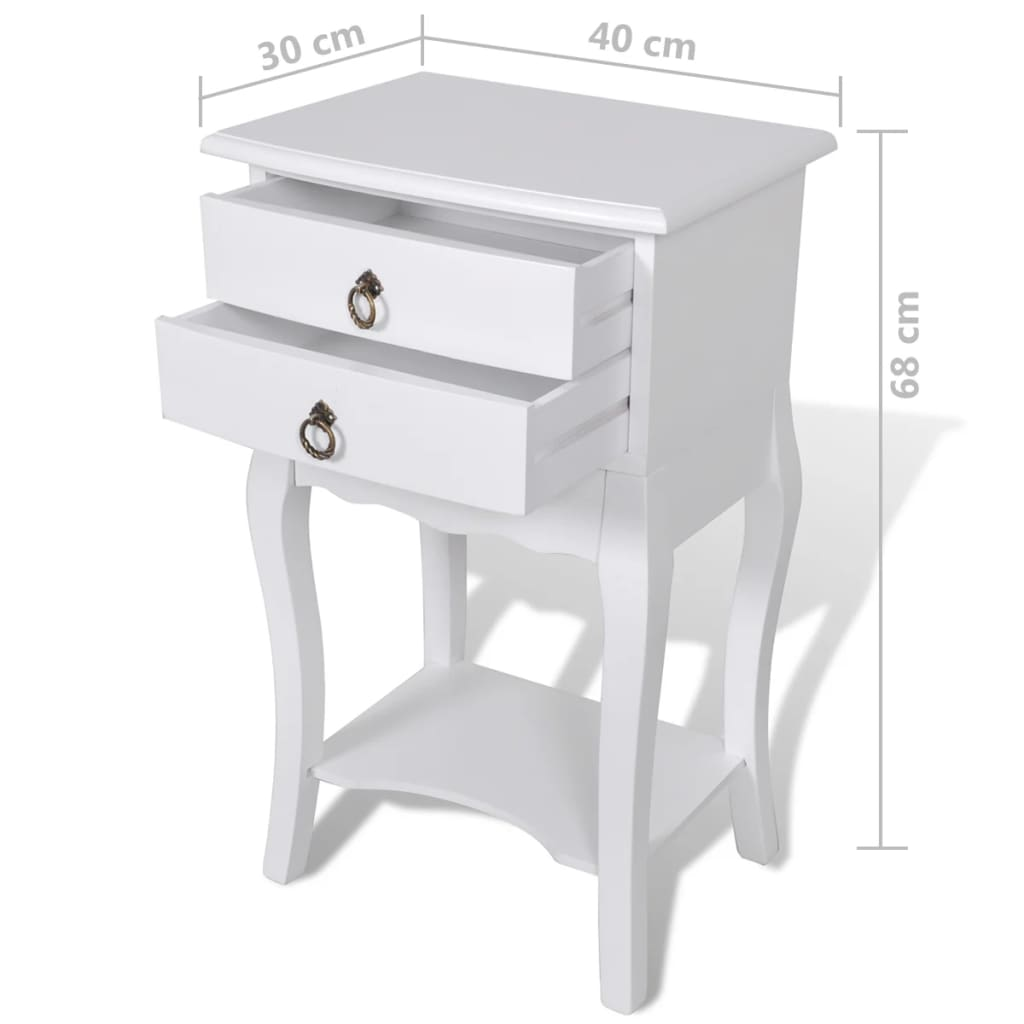 Nightstands with Drawers 2 pcs White 6