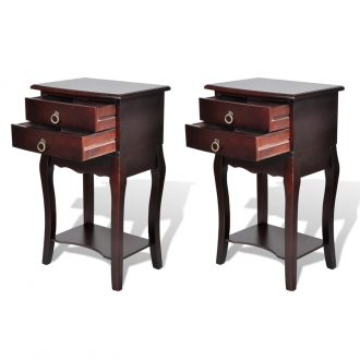 Nightstands with Drawers 2 pcs Brown 1