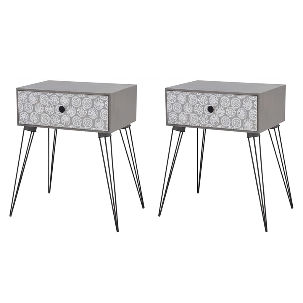 Nightstands with Drawer 2 pcs Grey 1