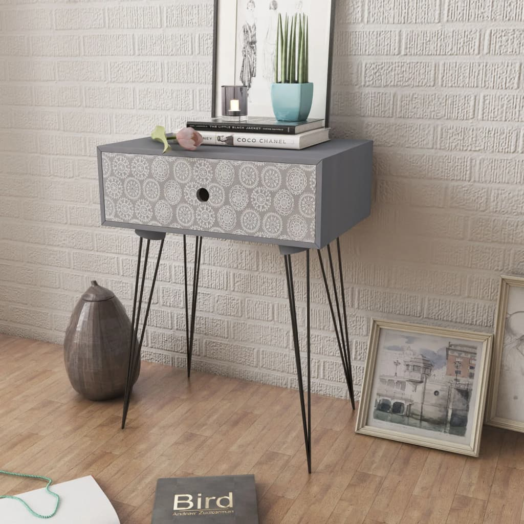 Nightstands with Drawer 2 pcs Grey 2