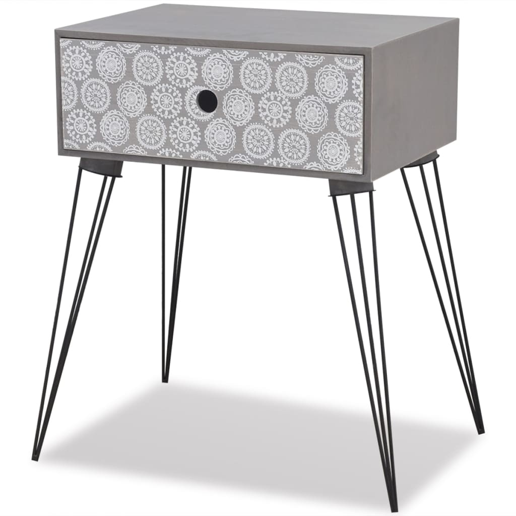 Nightstands with Drawer 2 pcs Grey 4