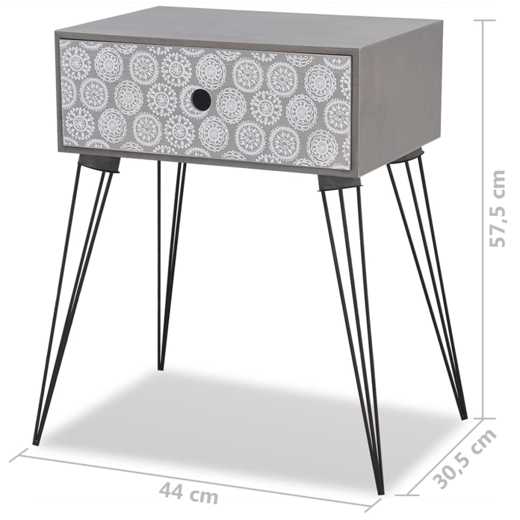 Nightstands with Drawer 2 pcs Grey 7