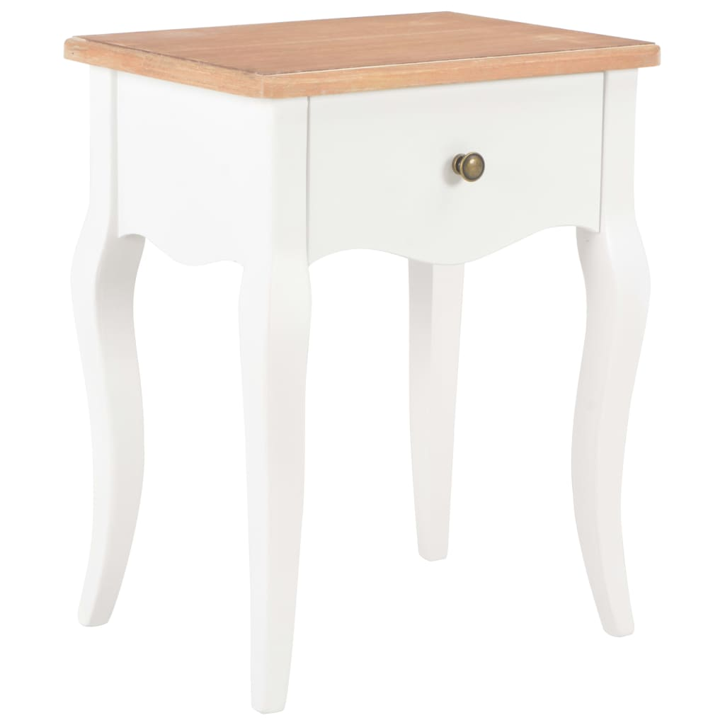 Nightstand White and Brown 40x30x50 cm Solid Pine Wood 1