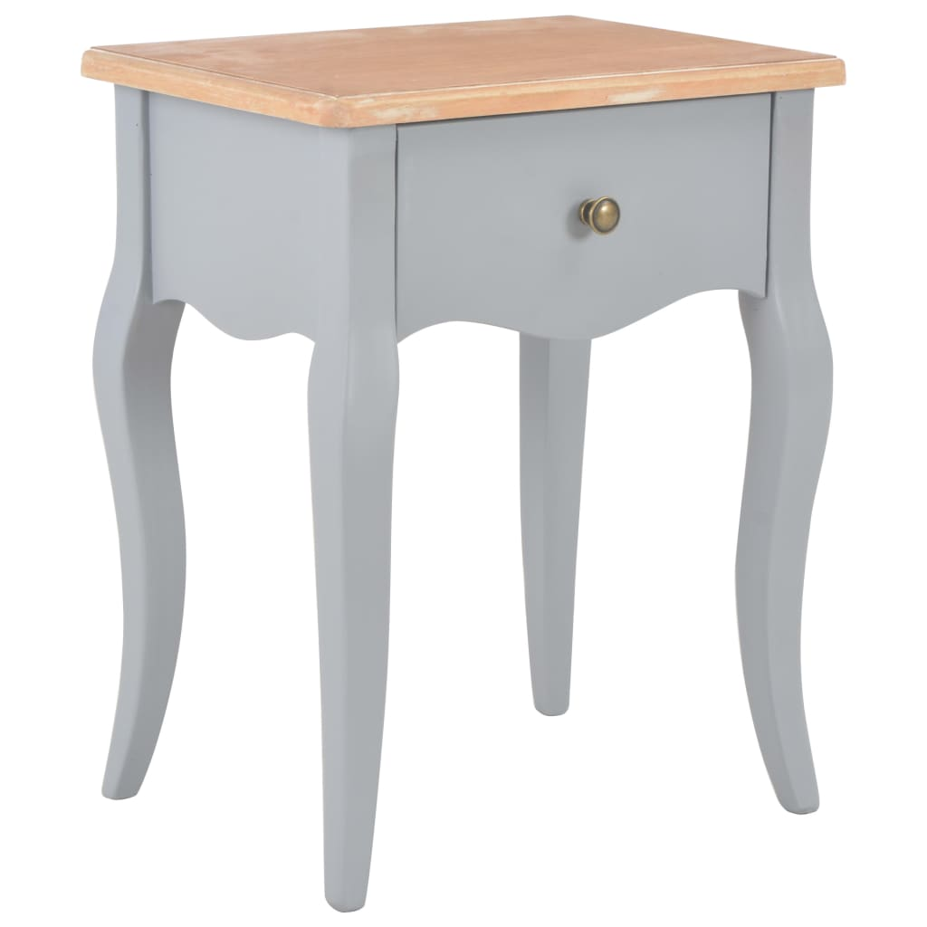 Nightstand Grey and Brown 40x30x50 cm Solid Pine Wood