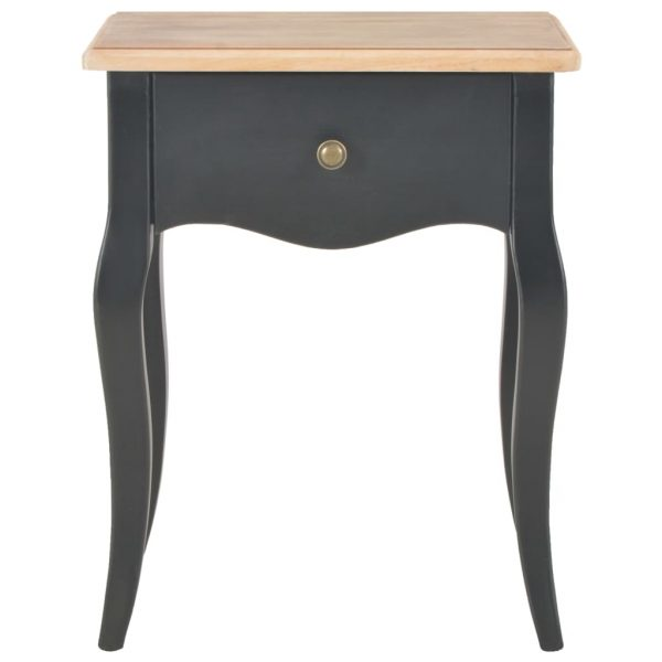 Nightstand Black and Brown 40x30x50 cm Solid Pine Wood 2