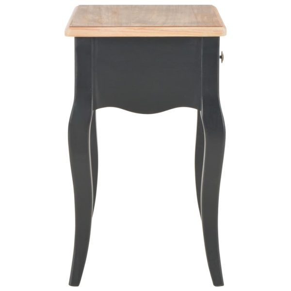 Nightstand Black and Brown 40x30x50 cm Solid Pine Wood 4