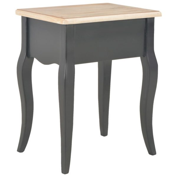 Nightstand Black and Brown 40x30x50 cm Solid Pine Wood 5
