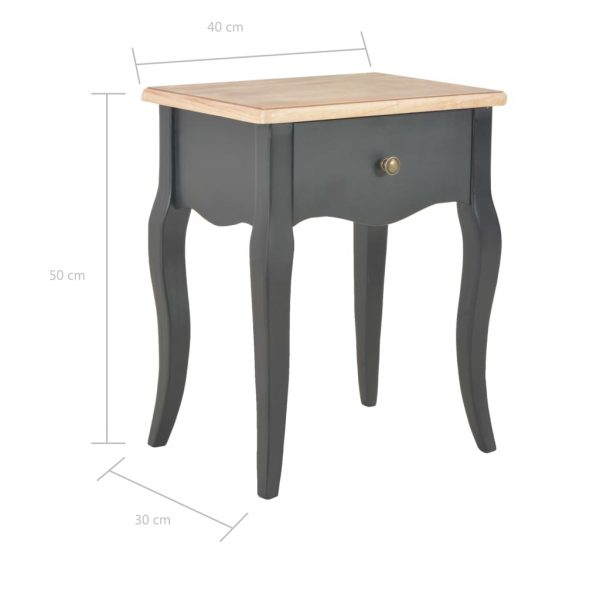 Nightstand Black and Brown 40x30x50 cm Solid Pine Wood 9