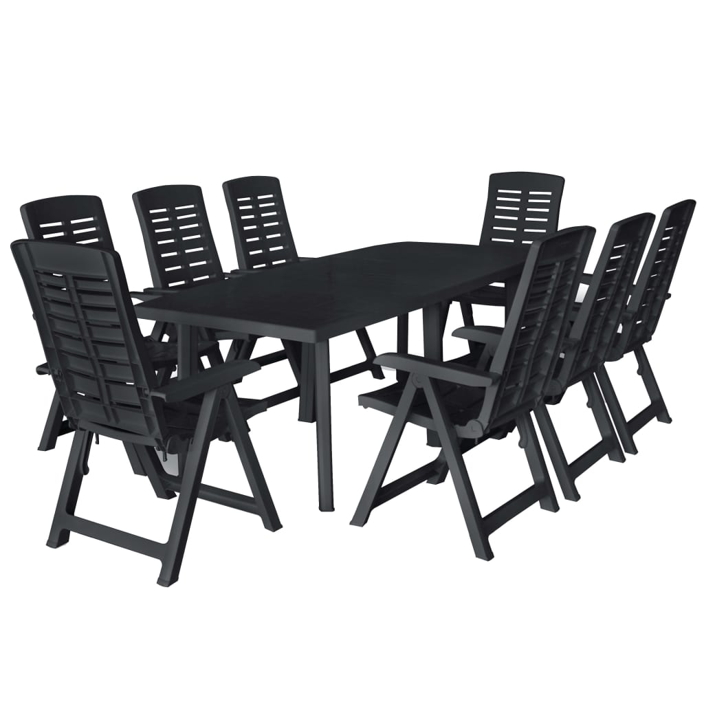 9 Piece Outdoor Dining Set Plastic Anthracite 1