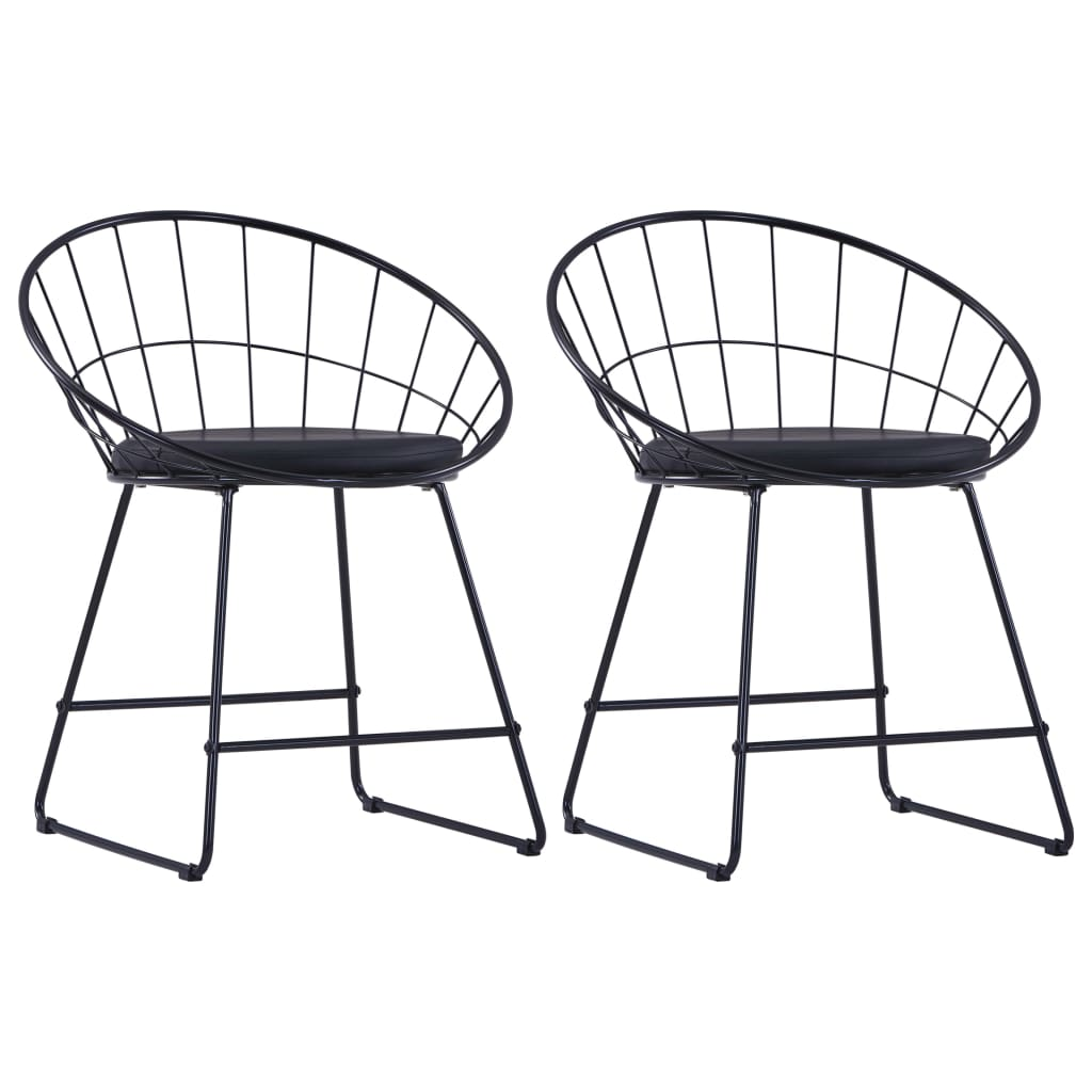 Dining Chairs with Faux Leather Seats 2 pcs Black Steel 1
