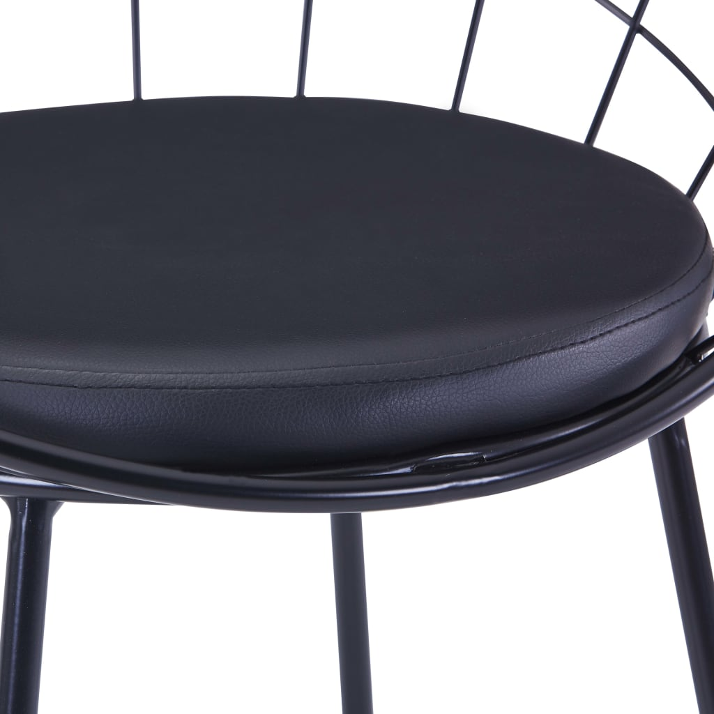 Dining Chairs with Faux Leather Seats 2 pcs Black Steel 7