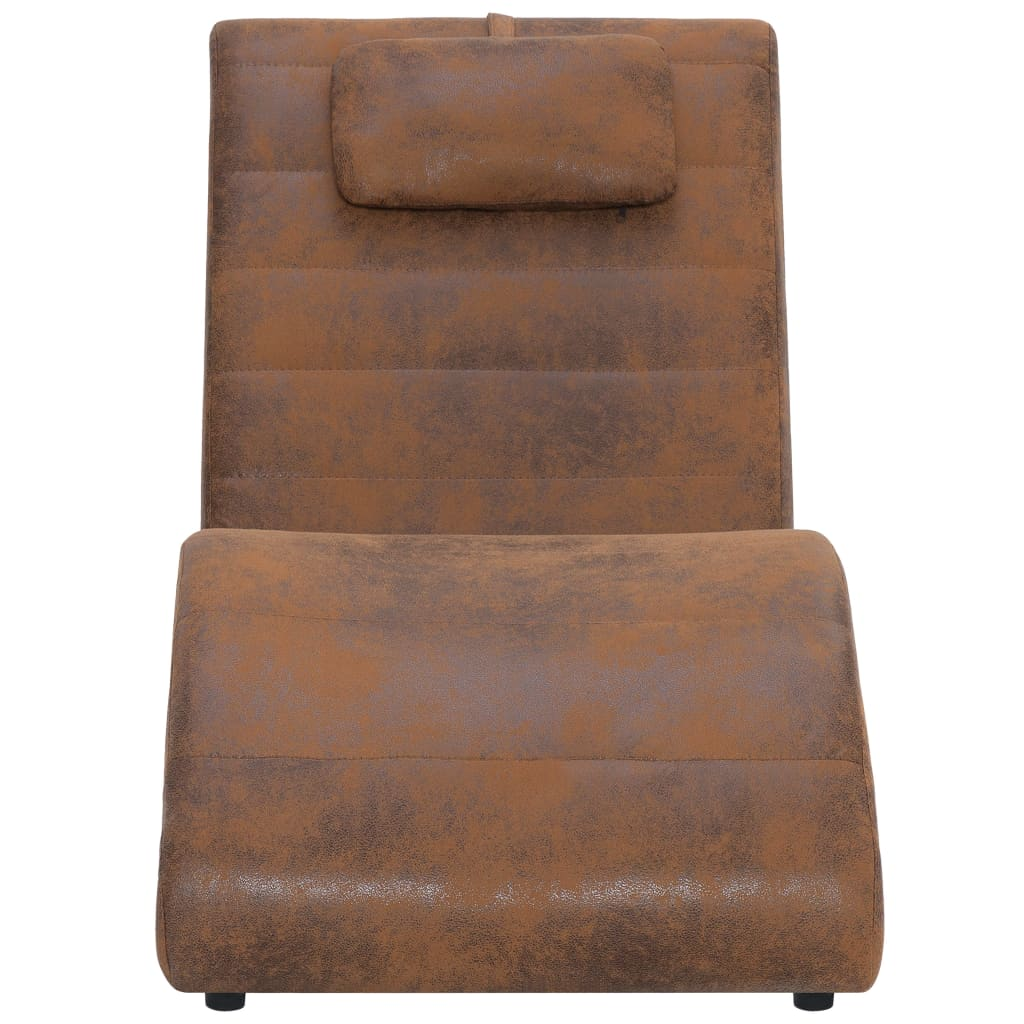 Chaise Longue with Pillow Brown Faux Suede Leather 4
