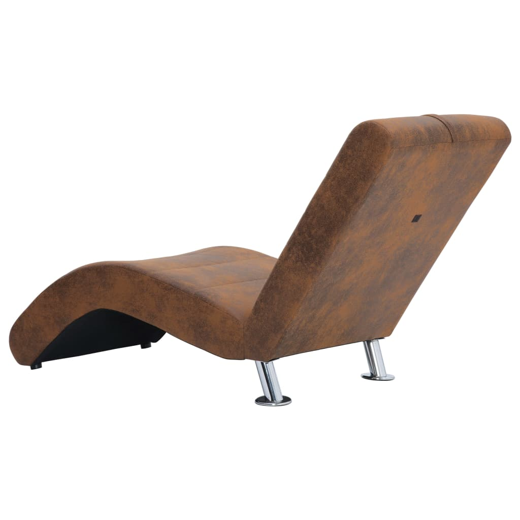 Chaise Longue with Pillow Brown Faux Suede Leather 6
