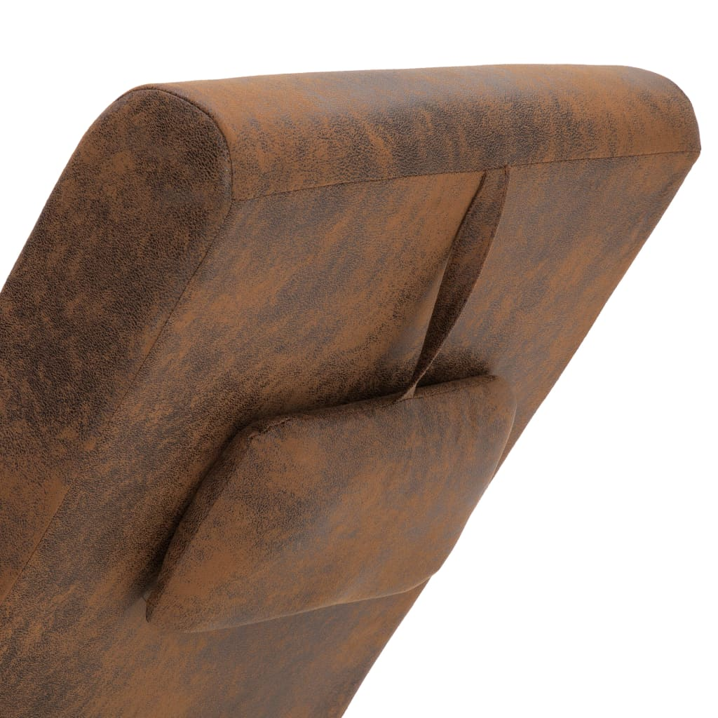 Chaise Longue with Pillow Brown Faux Suede Leather 7