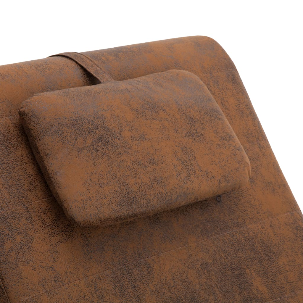 Chaise Longue with Pillow Brown Faux Suede Leather 8