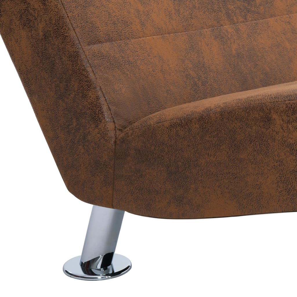 Chaise Longue with Pillow Brown Faux Suede Leather 9