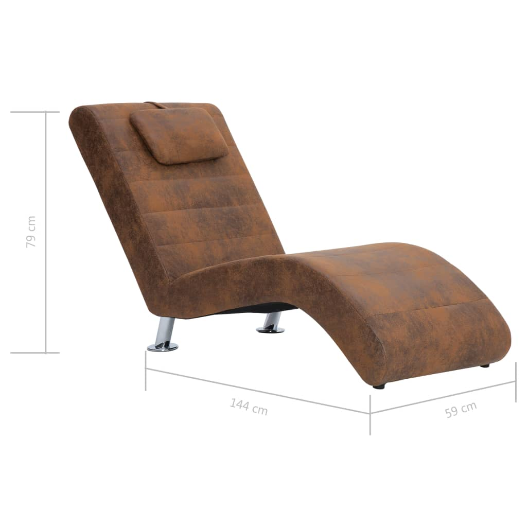 Chaise Longue with Pillow Brown Faux Suede Leather 10