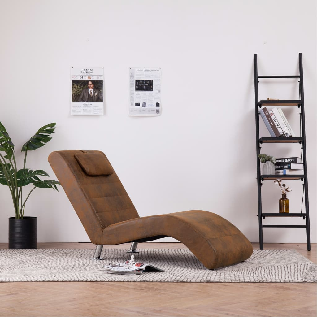 Chaise Longue with Pillow Brown Faux Suede Leather 1