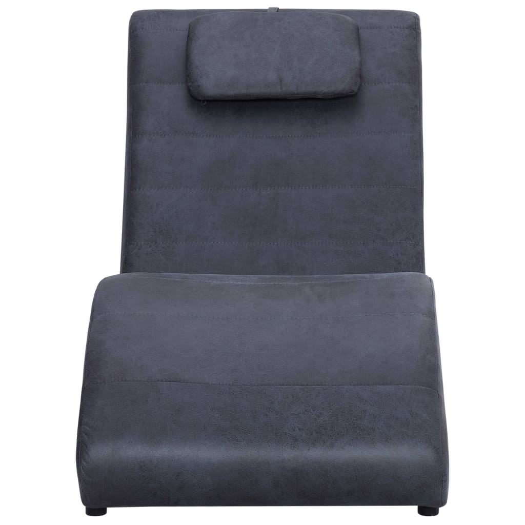 Chaise Longue with Pillow Grey Faux Suede Leather 4