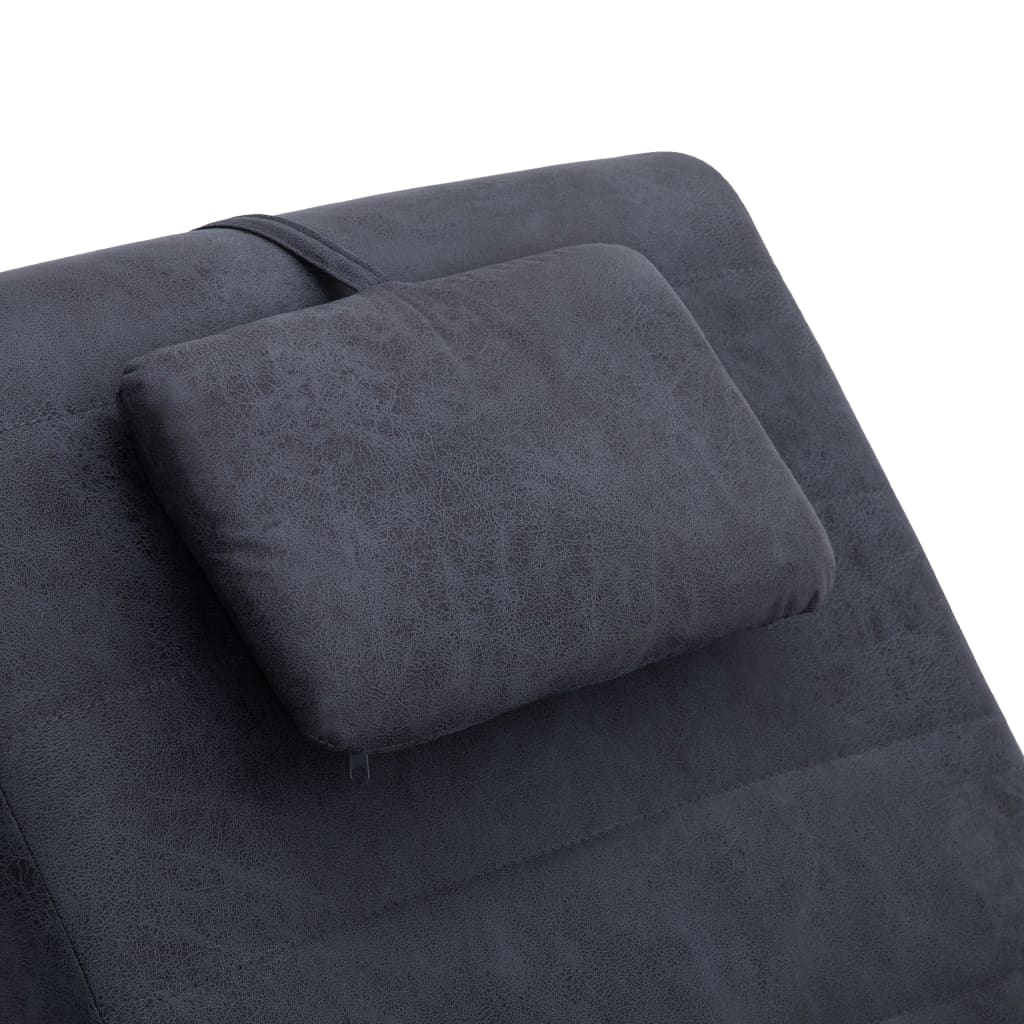 Chaise Longue with Pillow Grey Faux Suede Leather 8