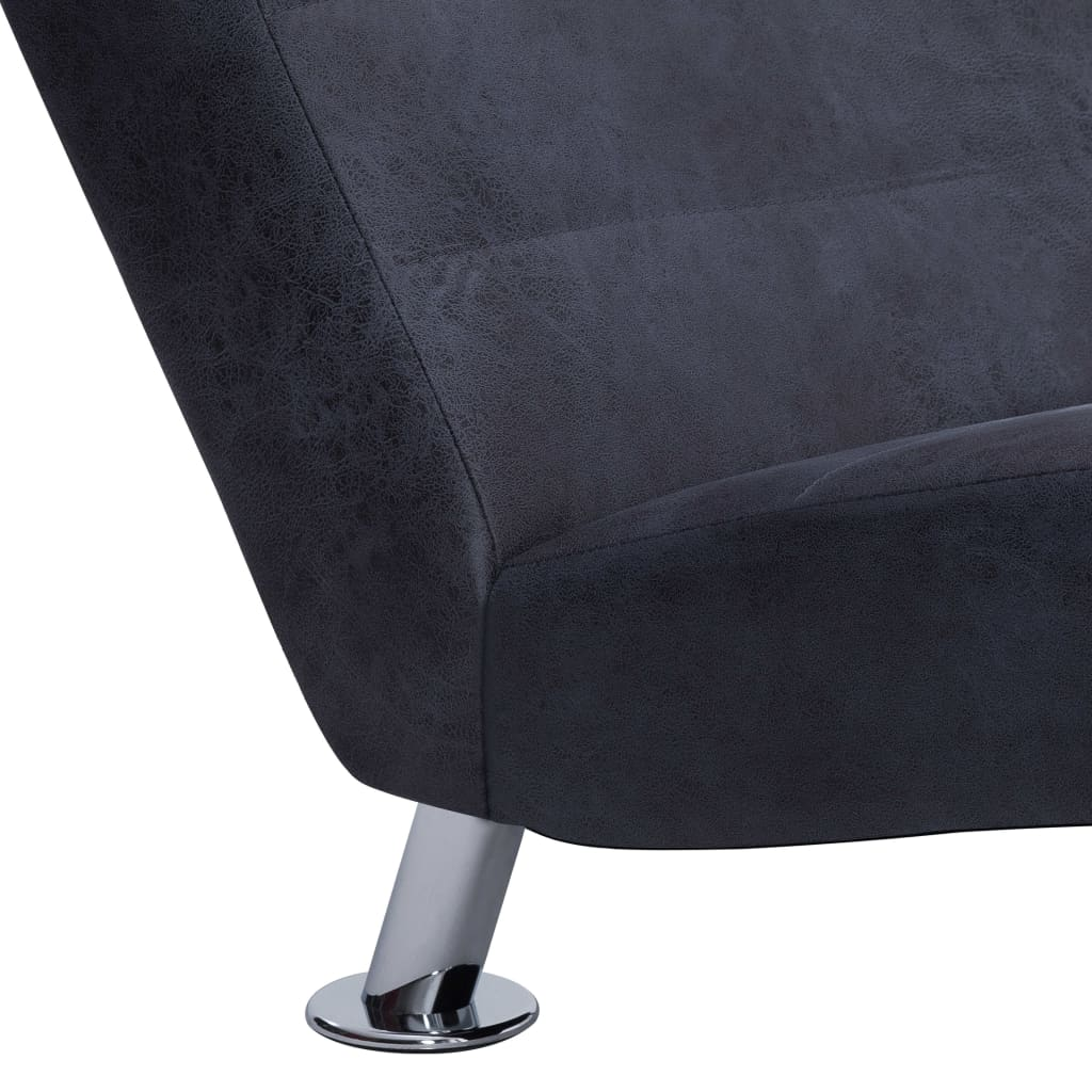 Chaise Longue with Pillow Grey Faux Suede Leather 9