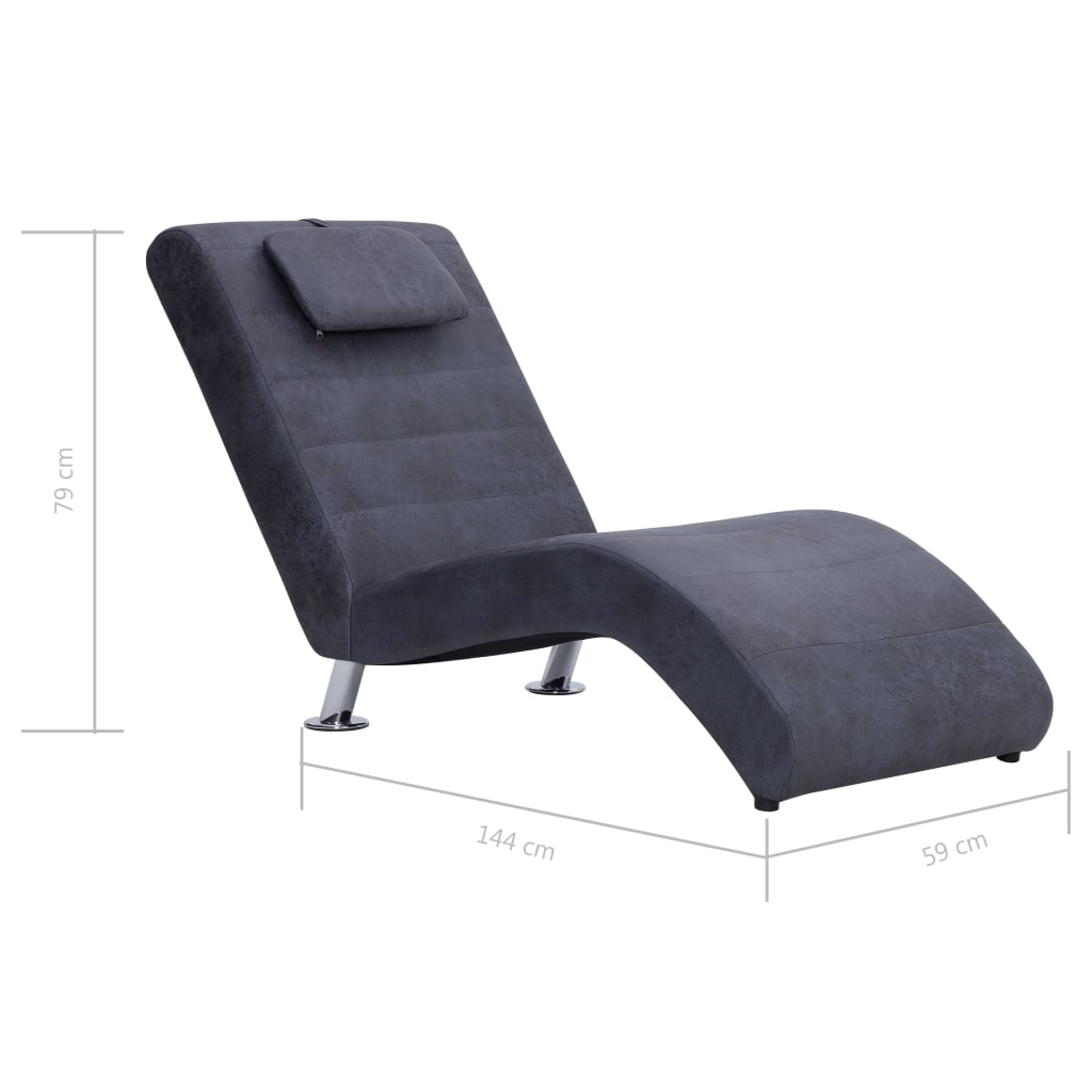 Chaise Longue with Pillow Grey Faux Suede Leather 10