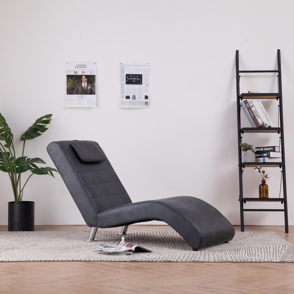 Chaise Longue with Pillow Grey Faux Suede Leather 1