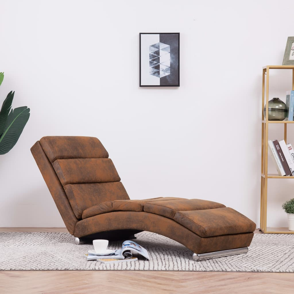 Chaise Longue Brown Faux Suede Leather 1