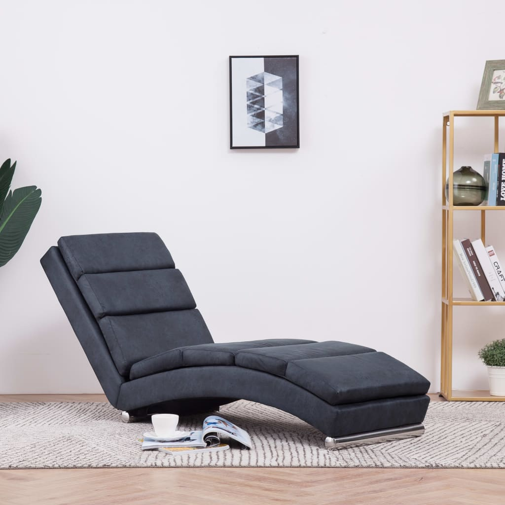 Chaise Longue Grey Faux Suede Leather 1