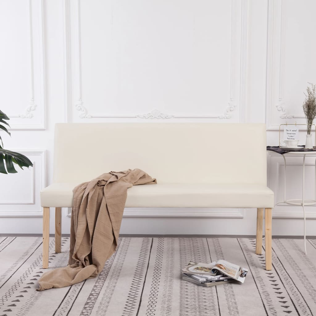 Bench 139.5 cm Cream Faux Leather