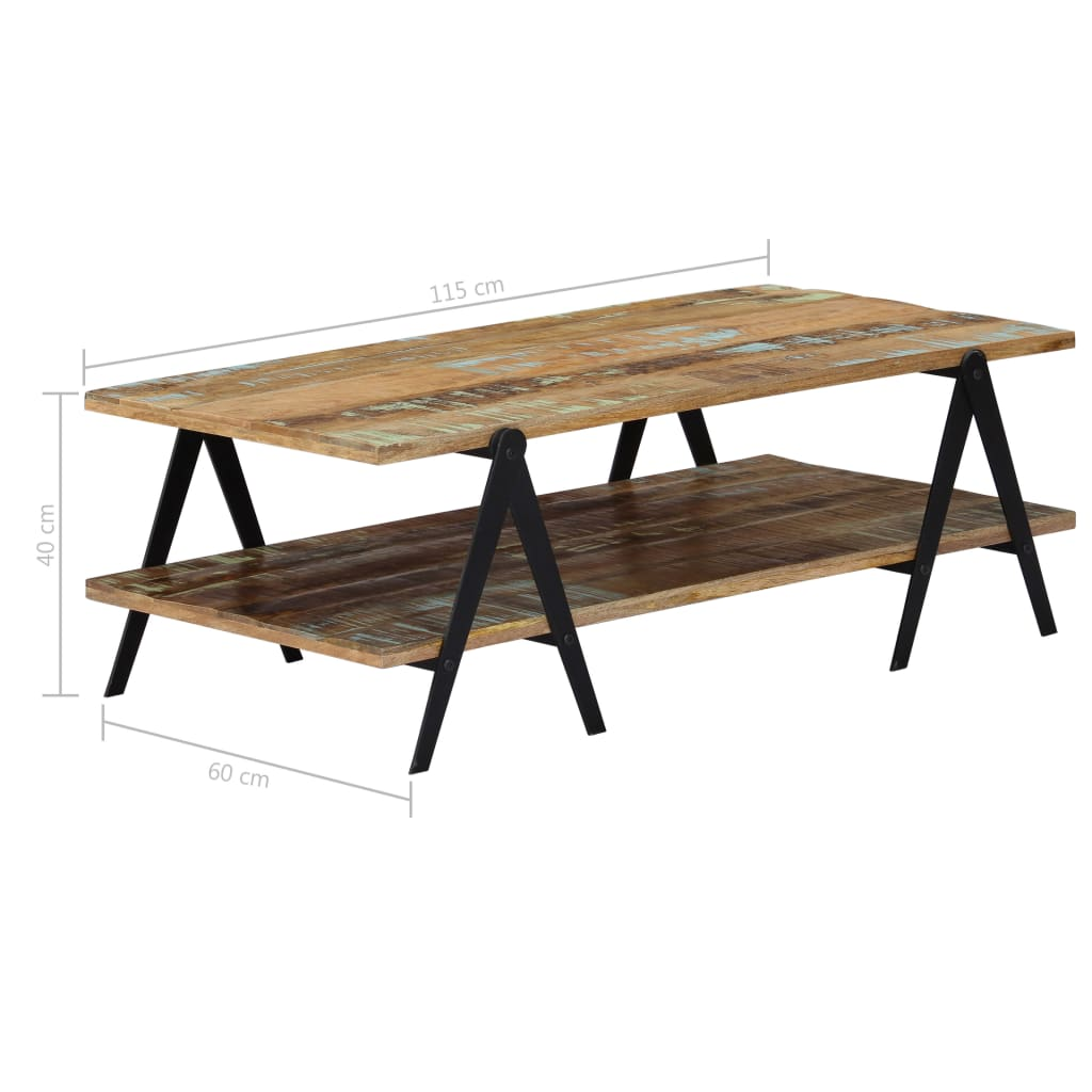 Coffee Table 115x60x40 cm Solid Reclaimed Wood 7