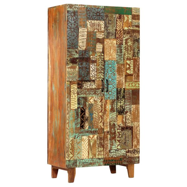 Hand Carved Highboard 85x45x180 cm Solid Reclaimed Wood 11