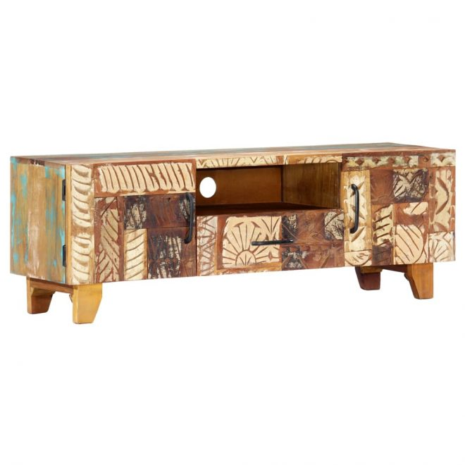 Hand Carved TV Cabinet 120x30x40 cm Solid Reclaimed Wood 1