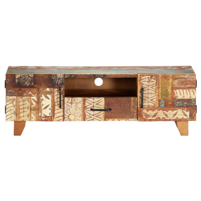 Hand Carved TV Cabinet 120x30x40 cm Solid Reclaimed Wood 2