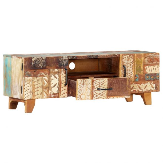 Hand Carved TV Cabinet 120x30x40 cm Solid Reclaimed Wood 6