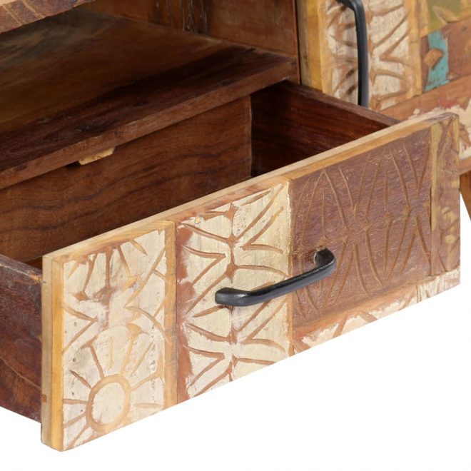 Hand Carved TV Cabinet 120x30x40 cm Solid Reclaimed Wood 7