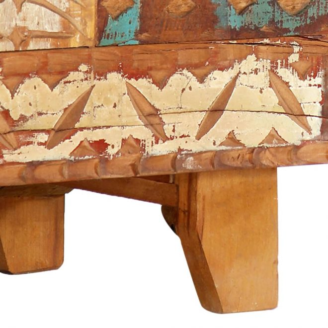 Hand Carved TV Cabinet 120x30x40 cm Solid Reclaimed Wood 9