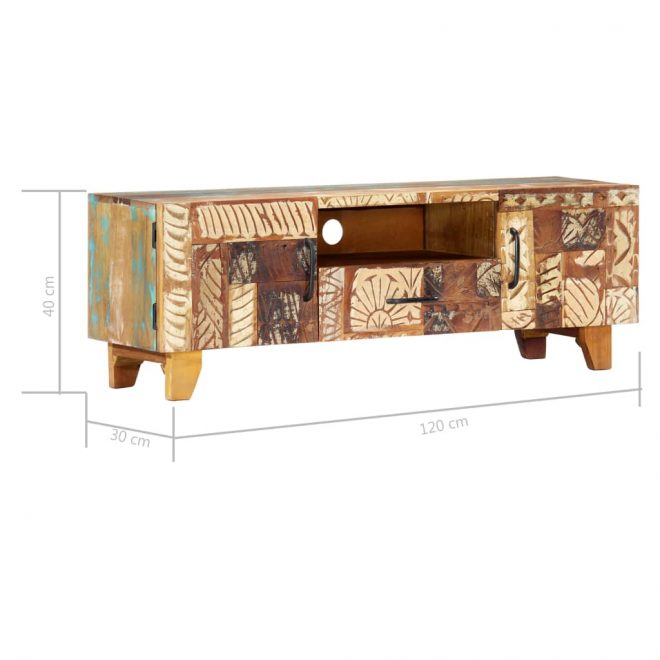 Hand Carved TV Cabinet 120x30x40 cm Solid Reclaimed Wood 10
