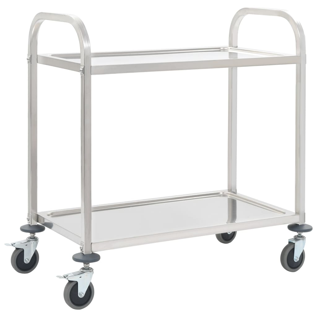 2-Tier Kitchen Trolley 107x55x90 cm Stainless Steel 1