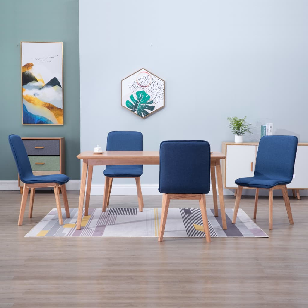 Dining Chairs 4 pcs Blue Fabric 1