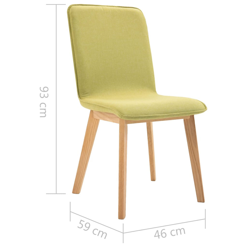 Dining Chairs 2 pcs Green Fabric 9