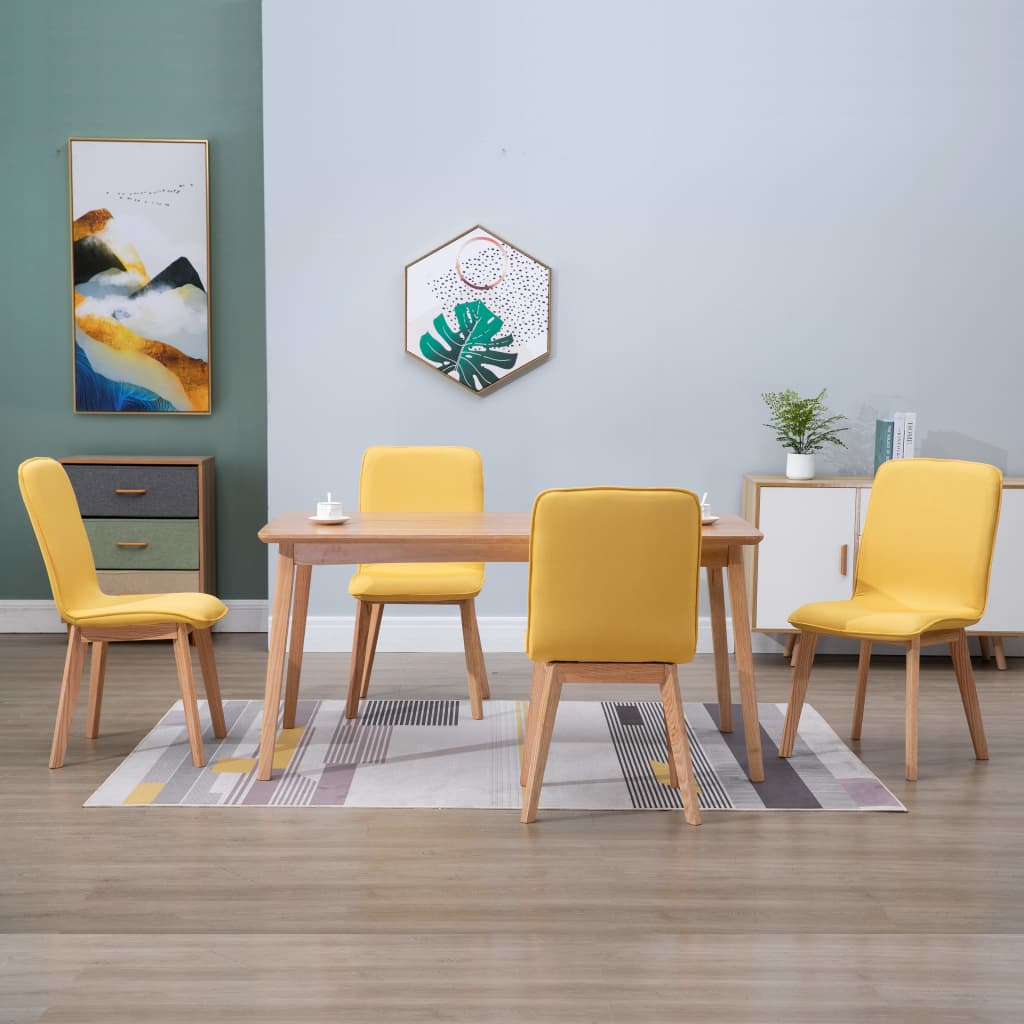 Dining Chairs 4 pcs Yellow Fabric 1