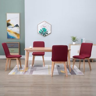 Dining Chairs 4 pcs Red Fabric 1