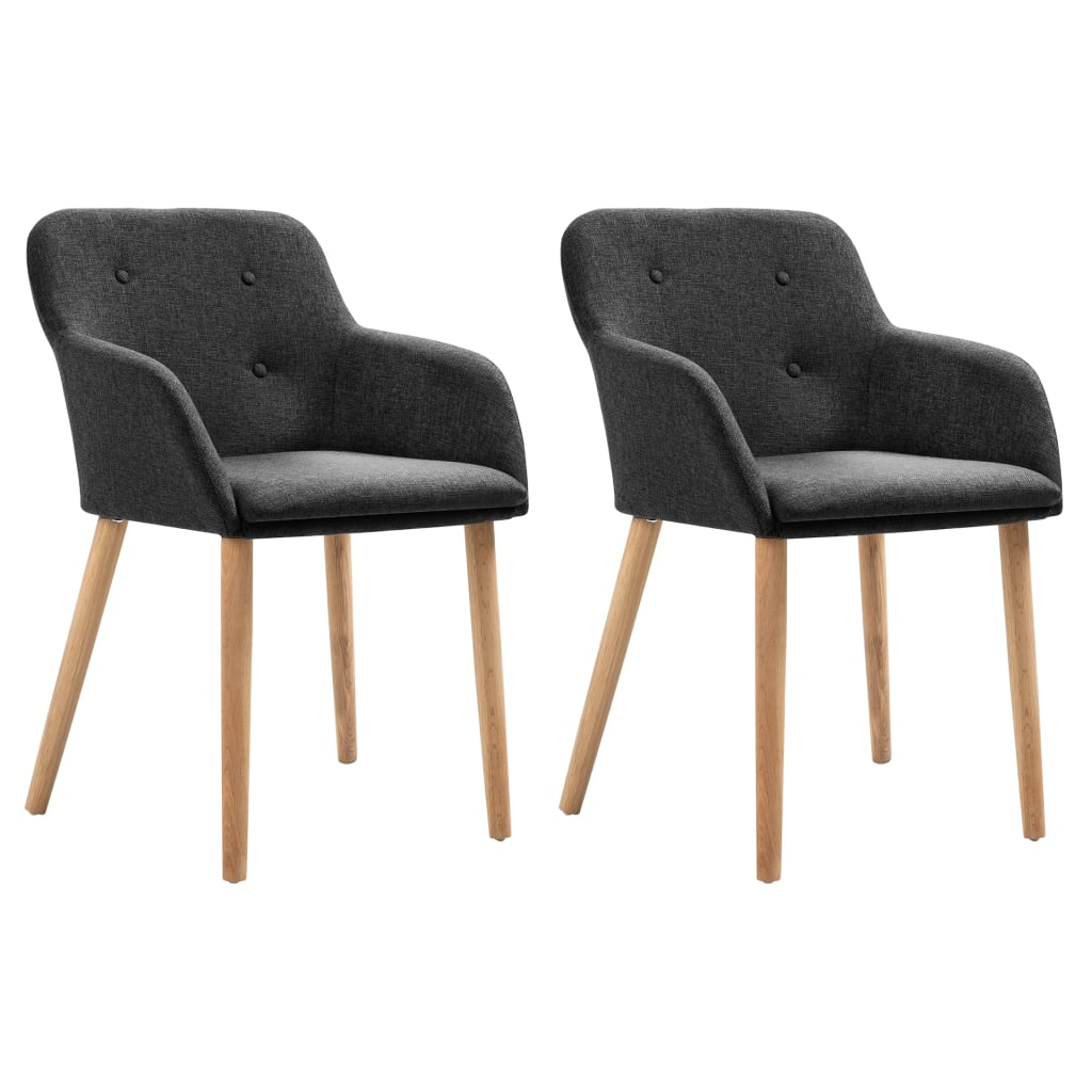 Dining Chairs 2 pcs Dark Grey Fabric and Solid Oak Wood 1