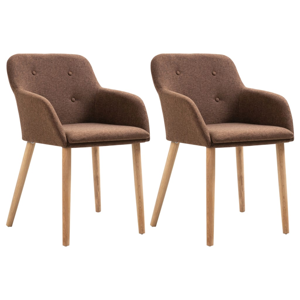 Dining Chairs 2 pcs Brown Fabric and Solid Oak Wood
